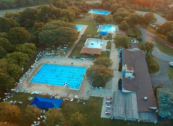 This is an aerial view of the Holmdel Township Swim Club