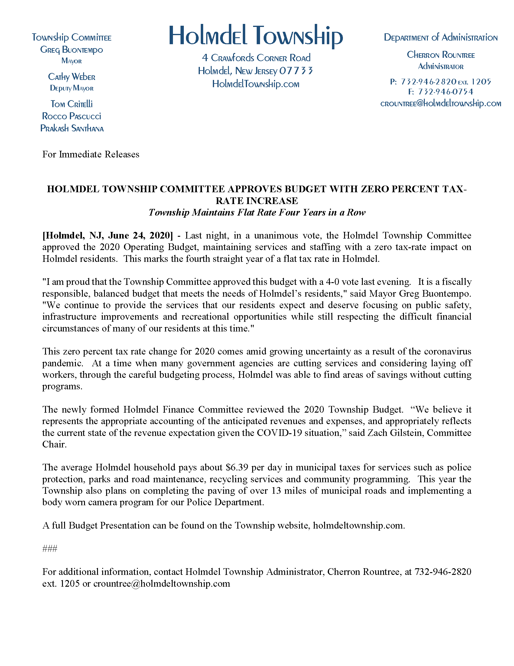 Holmdel Township Budget Press Release