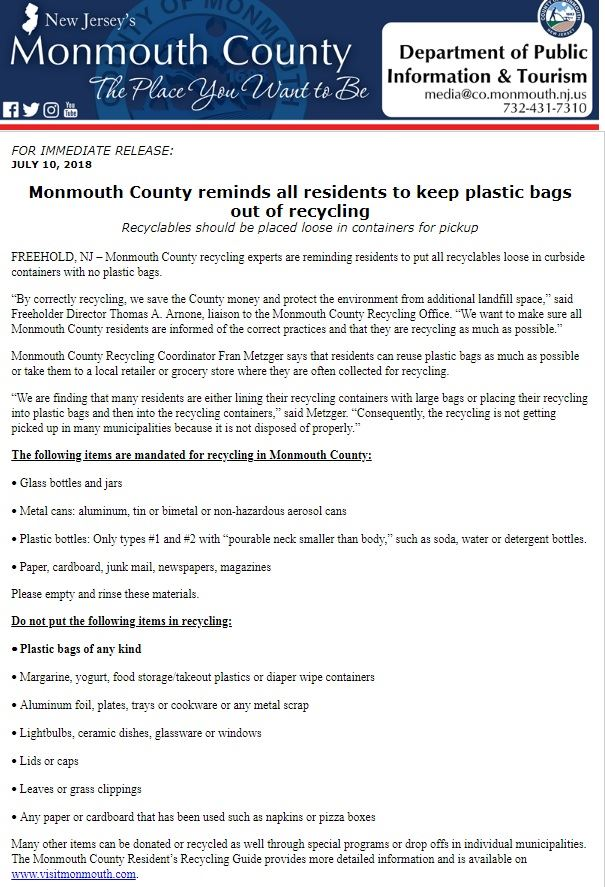 Monmouth County Recycling - Plastic Bag Mandate